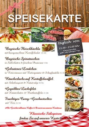 Mittagessen in Bamberg: Speisekarte